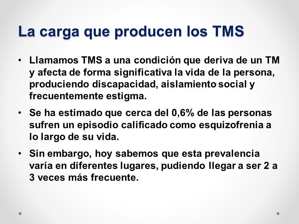 La carga que producen los TMS No sólo la esquizofrenia puede ser la condición que genera un episodio psicótico y eventualmente un TMS, hay otras condiciones también pueden llegar a producirlo (Tr.