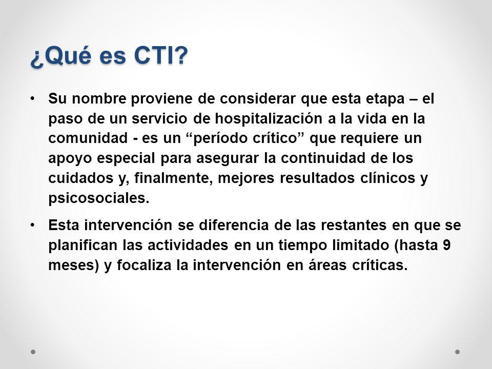 ¿Qué es CTI? Su nombre proviene de considerar que esta etapa – el paso de un servicio de hospitalización a la vida en la comunidad - es un período crí