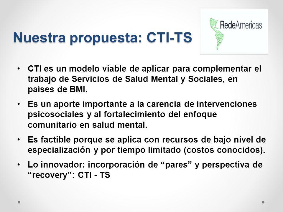 Nuestra propuesta: CTI-TS CTI es un modelo viable de aplicar para complementar el trabajo de Servicios de Salud Mental y Sociales, en países de BMI. E
