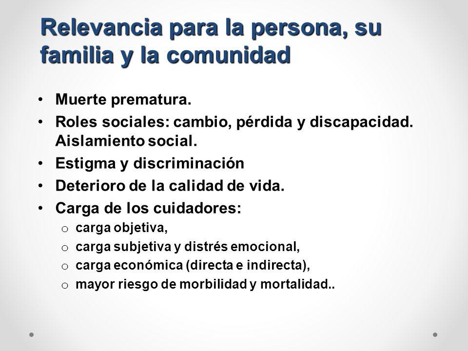 Relevancia para la persona, su familia y la comunidad Muerte prematura. Roles sociales: cambio, pérdida y discapacidad. Aislamiento social. Estigma y