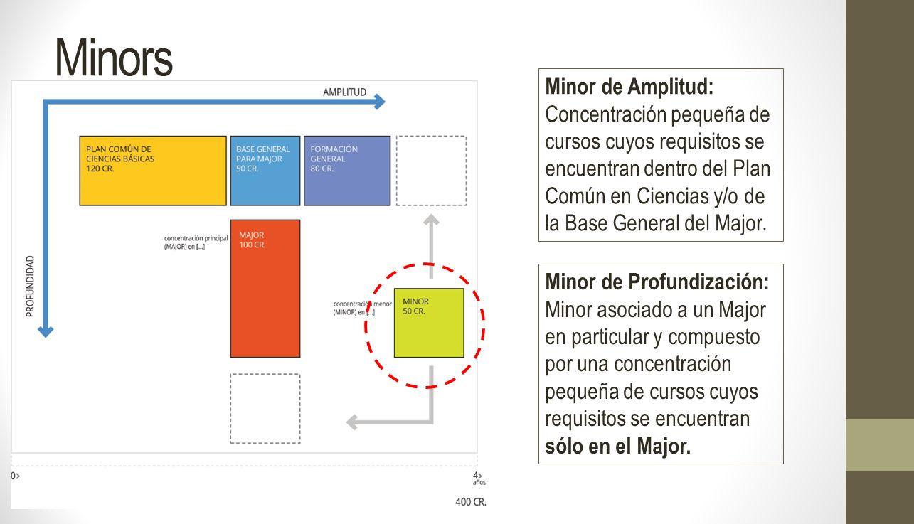 Minor de Amplitud: Concentración pequeña de cursos cuyos requisitos se encuentran dentro del Plan Común en Ciencias y/o de la Base General del Major.