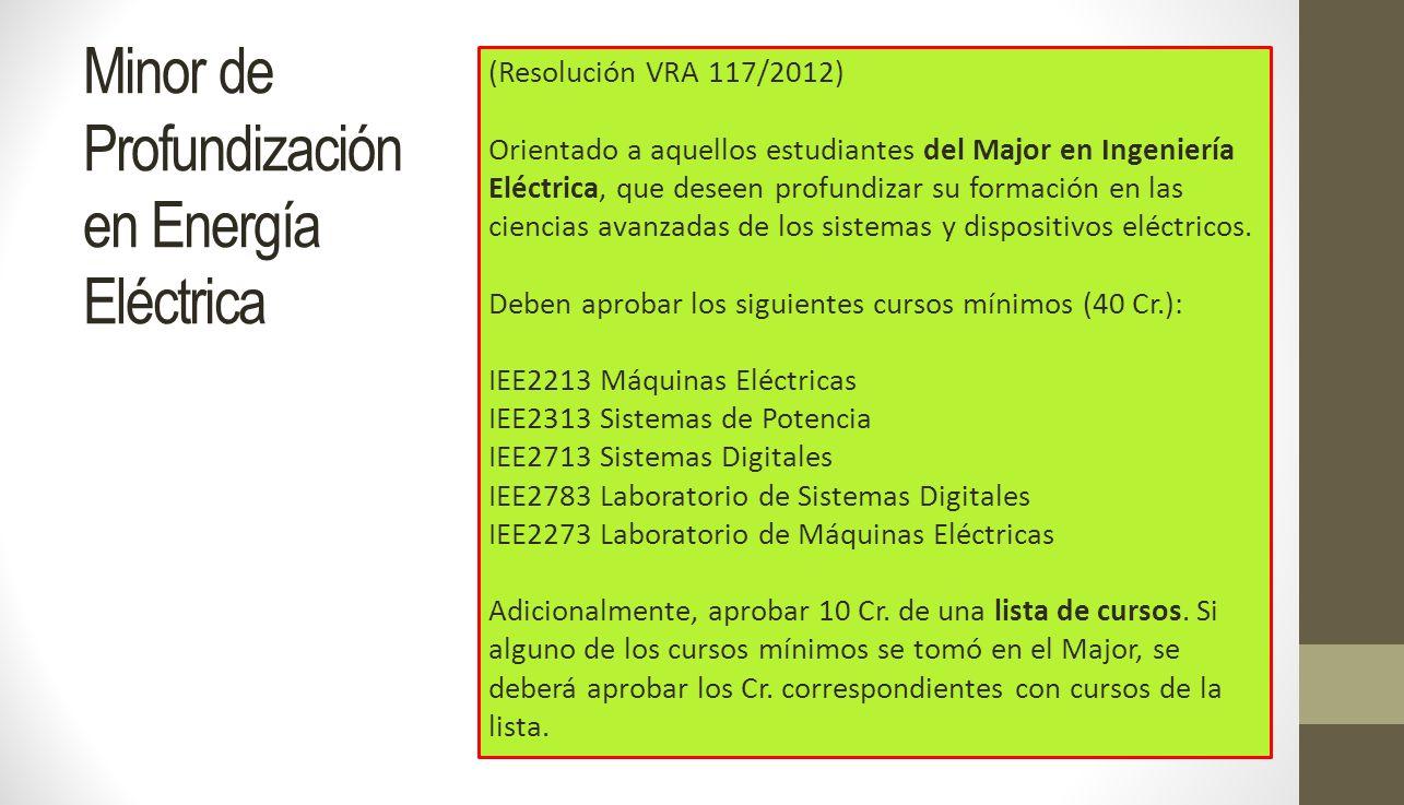 Minor de Profundización en Energía Eléctrica (Resolución VRA 117/2012) Orientado a aquellos estudiantes del Major en Ingeniería Eléctrica, que deseen