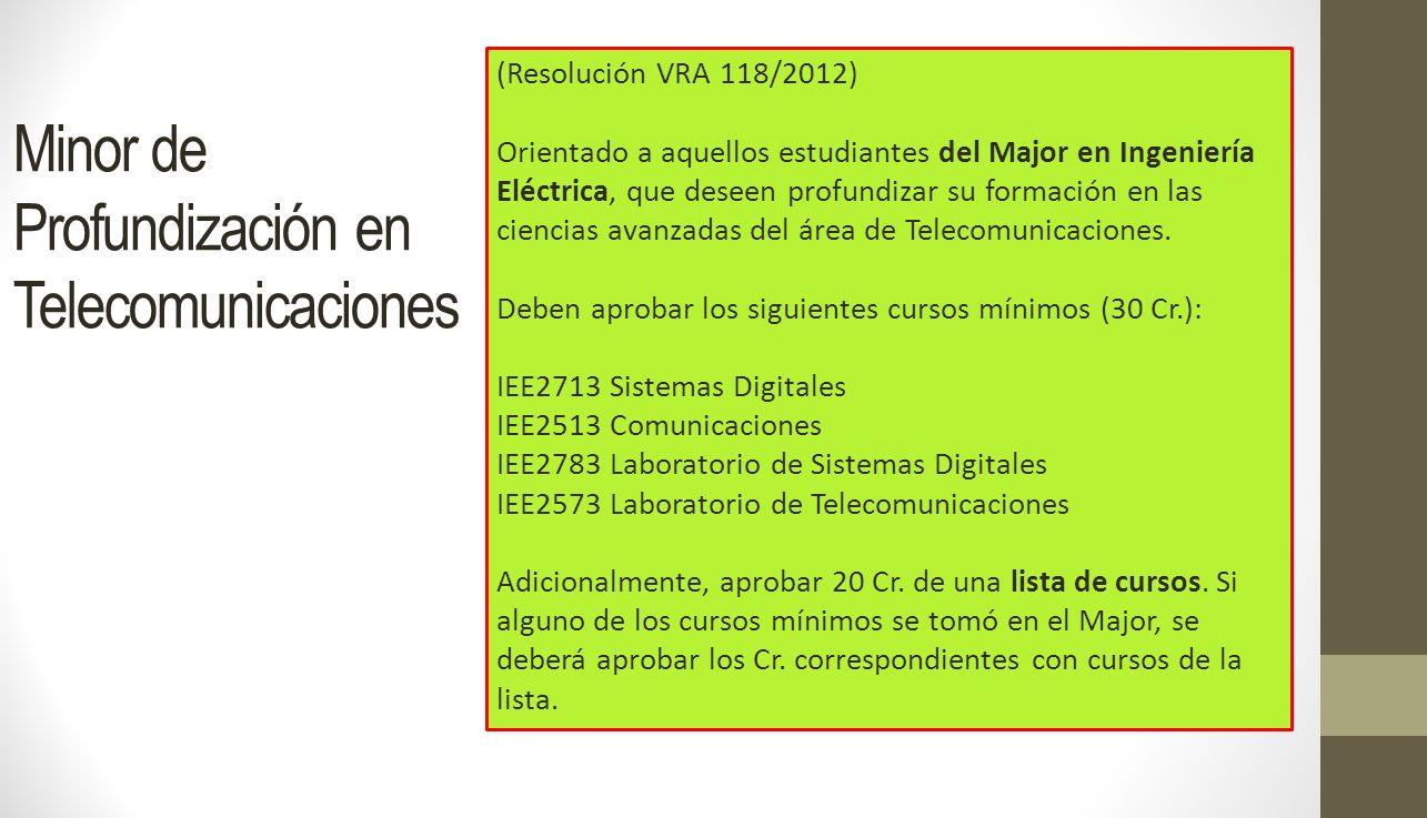 Minor de Profundización en Telecomunicaciones (Resolución VRA 118/2012) Orientado a aquellos estudiantes del Major en Ingeniería Eléctrica, que deseen