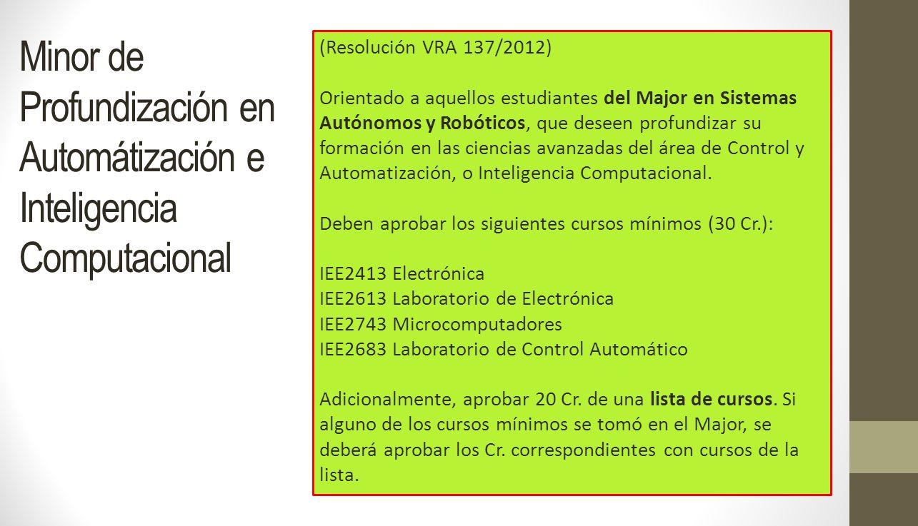 Minor de Profundización en Automátización e Inteligencia Computacional (Resolución VRA 137/2012) Orientado a aquellos estudiantes del Major en Sistema