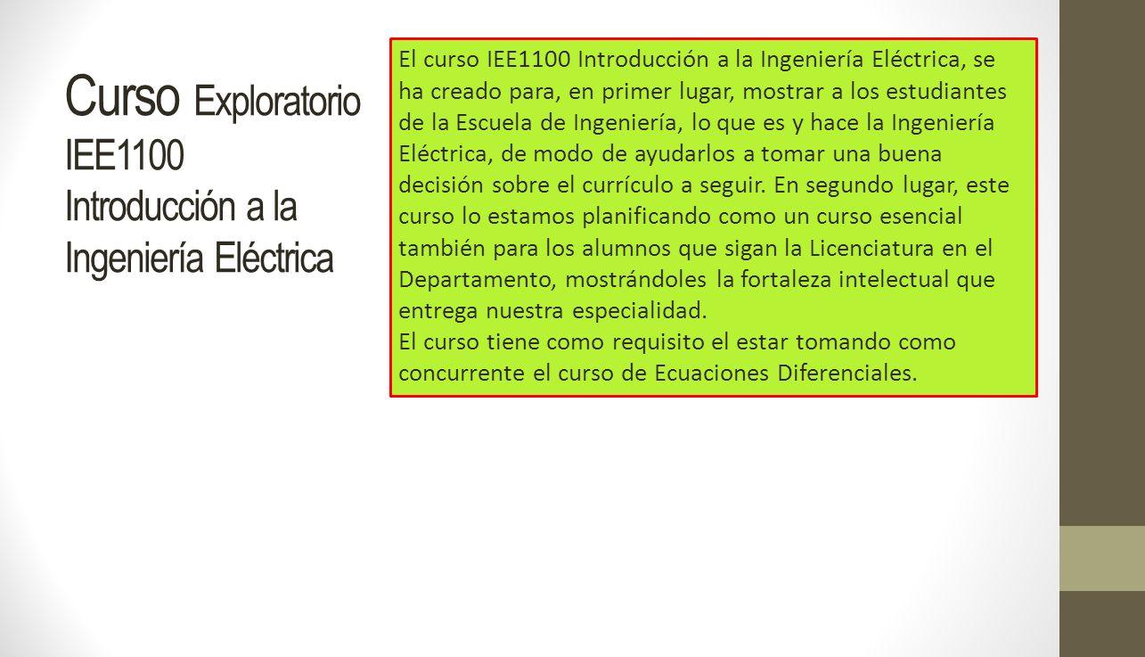 Curso Exploratorio IEE1100 Introducción a la Ingeniería Eléctrica El curso IEE1100 Introducción a la Ingeniería Eléctrica, se ha creado para, en prime