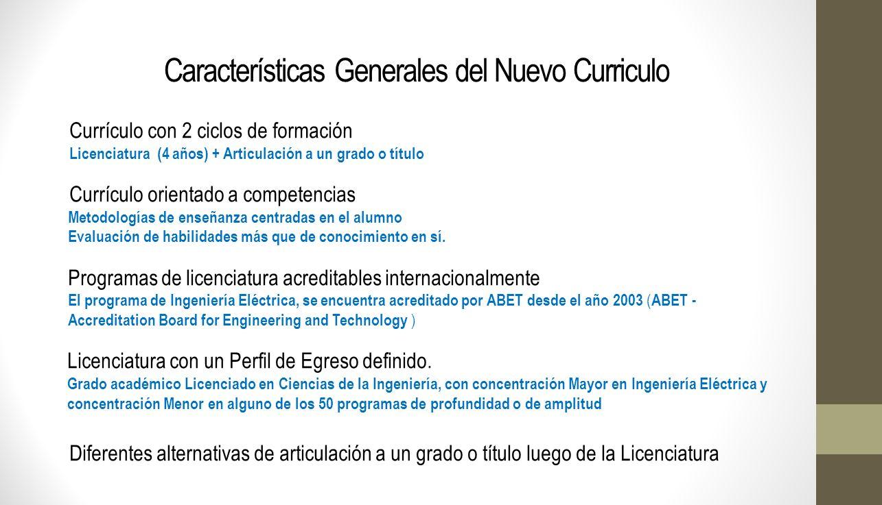 Características Generales del Nuevo Curriculo Currículo con 2 ciclos de formación Licenciatura (4 años) + Articulación a un grado o título Currículo o
