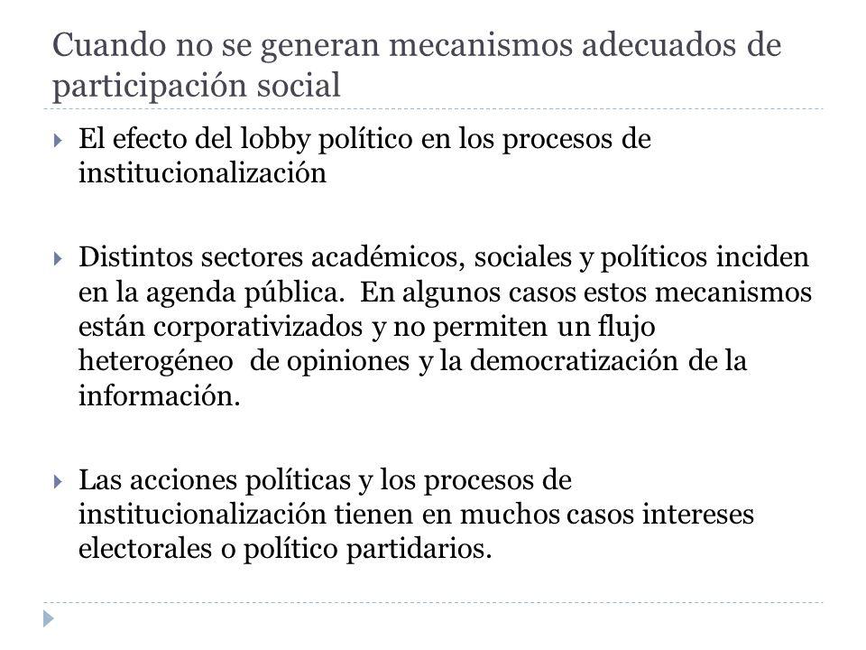 Cuando no se generan mecanismos adecuados de participación social El efecto del lobby político en los procesos de institucionalización Distintos secto