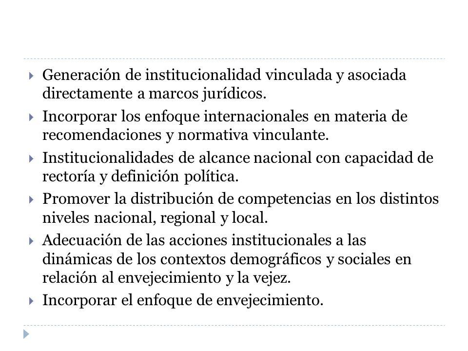 Generación de institucionalidad vinculada y asociada directamente a marcos jurídicos. Incorporar los enfoque internacionales en materia de recomendaci