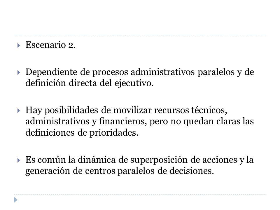 Escenario 2. Dependiente de procesos administrativos paralelos y de definición directa del ejecutivo. Hay posibilidades de movilizar recursos técnicos