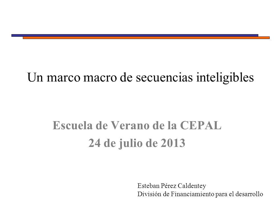 Un marco macro de secuencias inteligibles Escuela de Verano de la CEPAL 24 de julio de 2013 Esteban Pérez Caldentey División de Financiamiento para el desarrollo