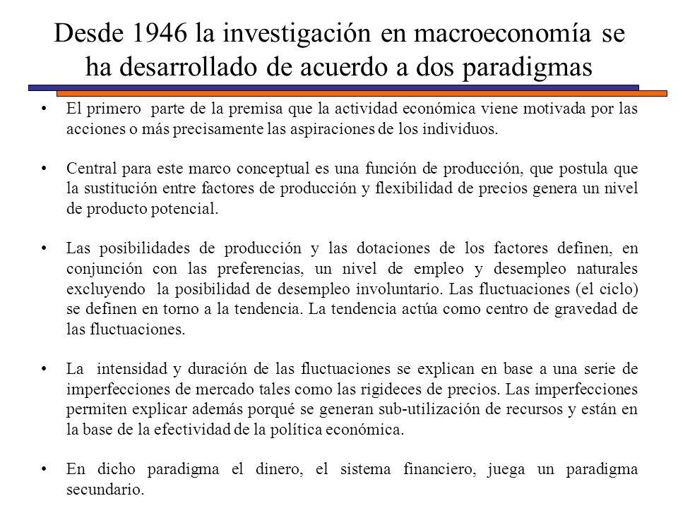 Desde 1946 la investigación en macroeconomía se ha desarrollado de acuerdo a dos paradigmas El primero parte de la premisa que la actividad económica viene motivada por las acciones o más precisamente las aspiraciones de los individuos.