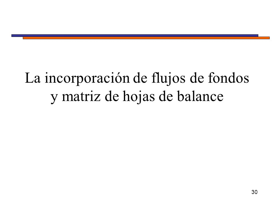 La incorporación de flujos de fondos y matriz de hojas de balance 30