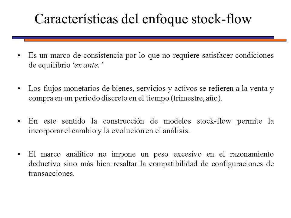 Características del enfoque stock-flow Es un marco de consistencia por lo que no requiere satisfacer condiciones de equilibrio ex ante. Los flujos mon