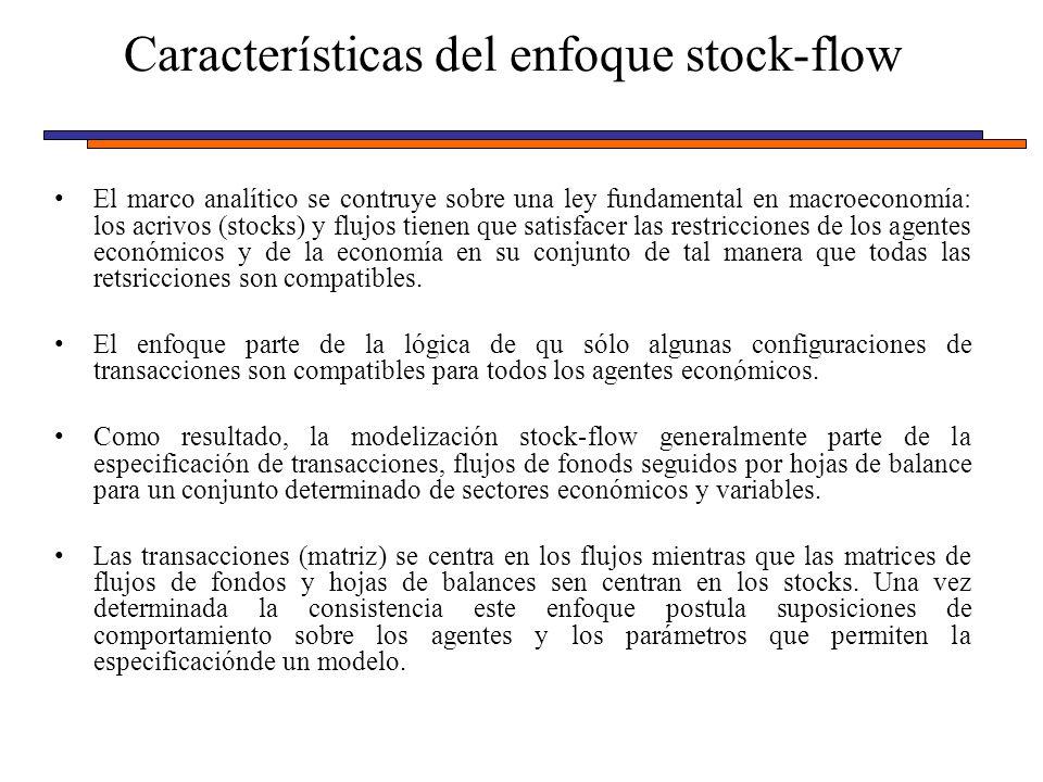 Características del enfoque stock-flow El marco analítico se contruye sobre una ley fundamental en macroeconomía: los acrivos (stocks) y flujos tienen que satisfacer las restricciones de los agentes económicos y de la economía en su conjunto de tal manera que todas las retsricciones son compatibles.