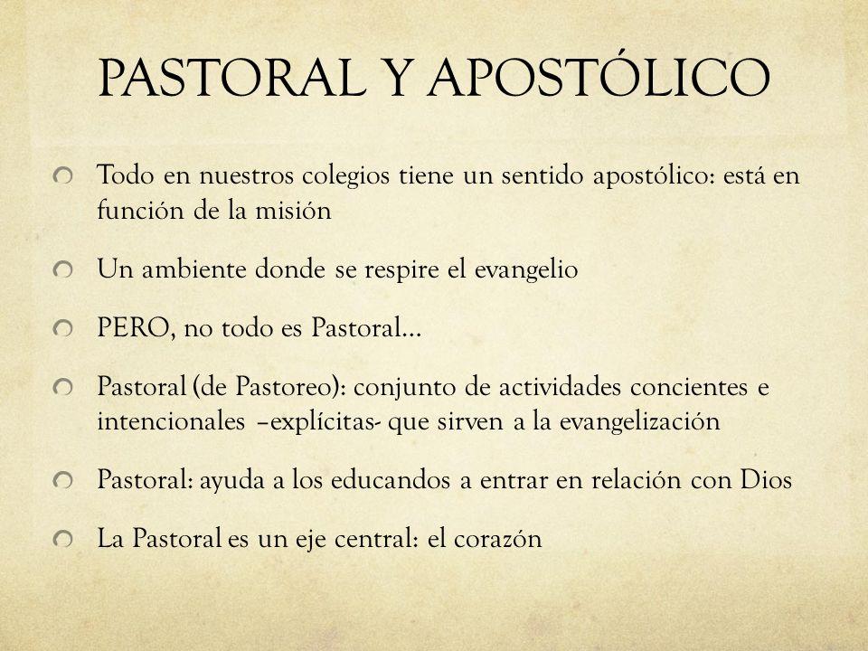 PASTORAL Y APOSTÓLICO Todo en nuestros colegios tiene un sentido apostólico: está en función de la misión Un ambiente donde se respire el evangelio PE