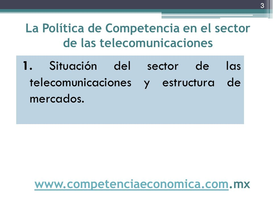 El problema de fondo en la industria de las telecomunicaciones en México es la falta de competencia, lo que implica precios altos y un servicio limitado a pocos sectores de la población Los servicios de telecomunicaciones en México son caros y poco efectivos; (…) tarifas elevadas y no hay competencia.