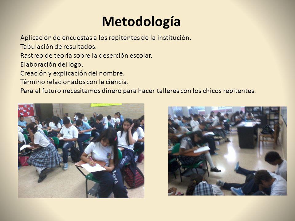 Metodología Aplicación de encuestas a los repitentes de la institución. Tabulación de resultados. Rastreo de teoría sobre la deserción escolar. Elabor