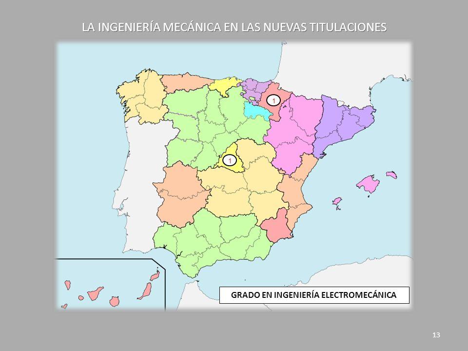 LA INGENIERÍA MECÁNICA EN LAS NUEVAS TITULACIONES 13 1 1 GRADO EN INGENIERÍA ELECTROMECÁNICA