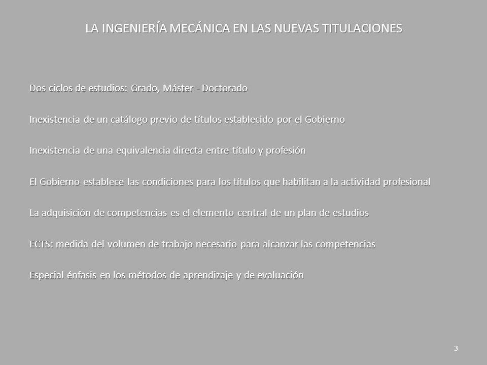 LA INGENIERÍA MECÁNICA EN LAS NUEVAS TITULACIONES INGENIERÍA MECÁNICA Ámbito profesional Ingeniería de Máquinas Ingeniería de Vehículos Ingeniería Térmica Ingeniería Fluídica Ingeniería de Estructuras y Construcción Ingeniería de Materiales Ingeniería de Fabricación 4 Área de conocimiento Ingeniería de Máquinas Ingeniería de Vehículos FORMACIÓN Materias básicas Mecánica del sólido rígido Elasticidad y Resistencia de Materiales Termodinámica Mecánica de Fluidos Ciencia de Materiales Materias de aplicación Teoría de mecanismos y máquinas Cálculo de elementos de máquinas Transporte e ingeniería de vehículos Cálculo de estructuras y construcciones industriales Máquinas y motores térmicos Máquinas hidráulicas Ingeniería de materiales Ingeniería de los procesos de fabricación