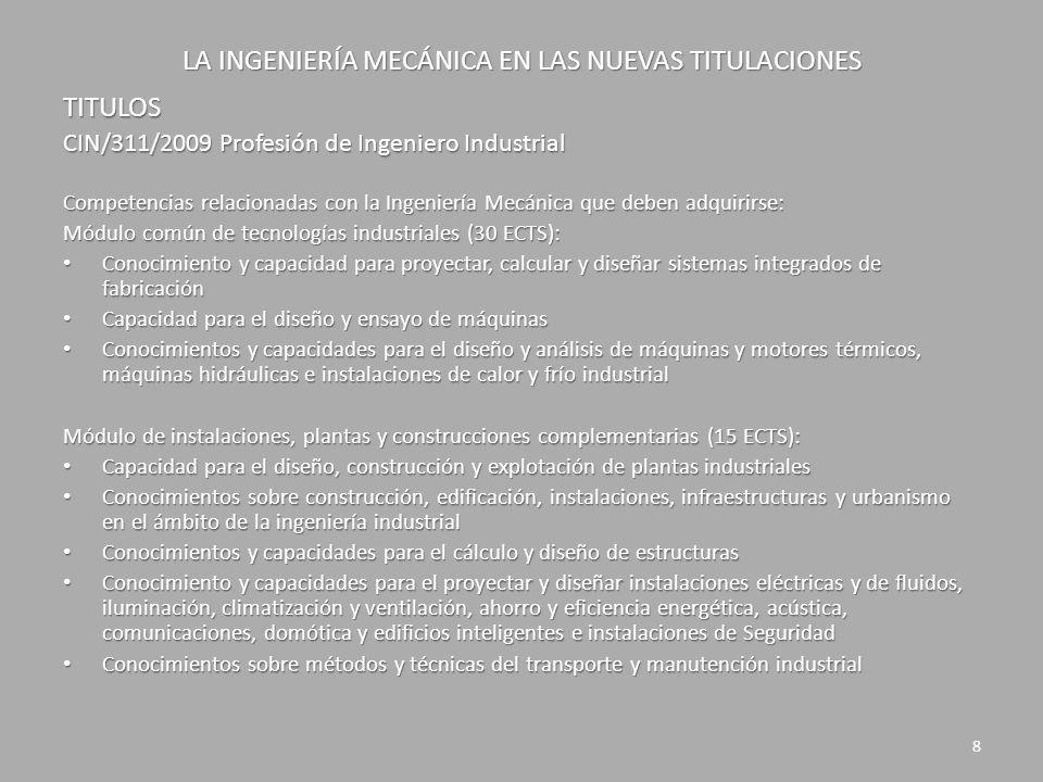 LA INGENIERÍA MECÁNICA EN LAS NUEVAS TITULACIONES TITULOS CIN/311/2009 Profesión de Ingeniero Industrial Competencias relacionadas con la Ingeniería M