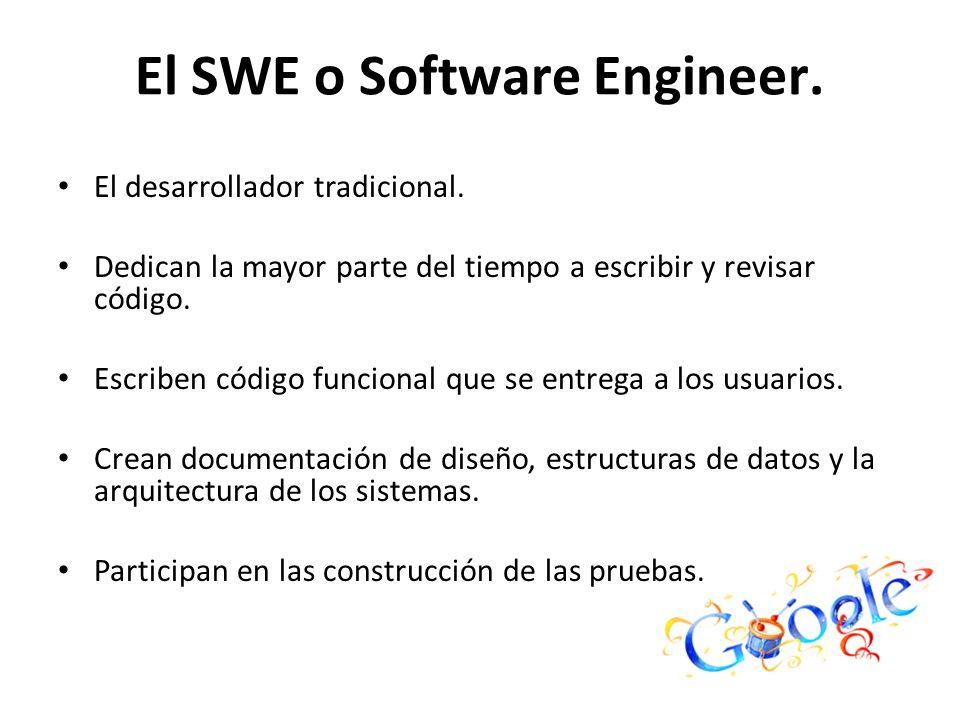 El SWE o Software Engineer. El desarrollador tradicional. Dedican la mayor parte del tiempo a escribir y revisar código. Escriben código funcional que