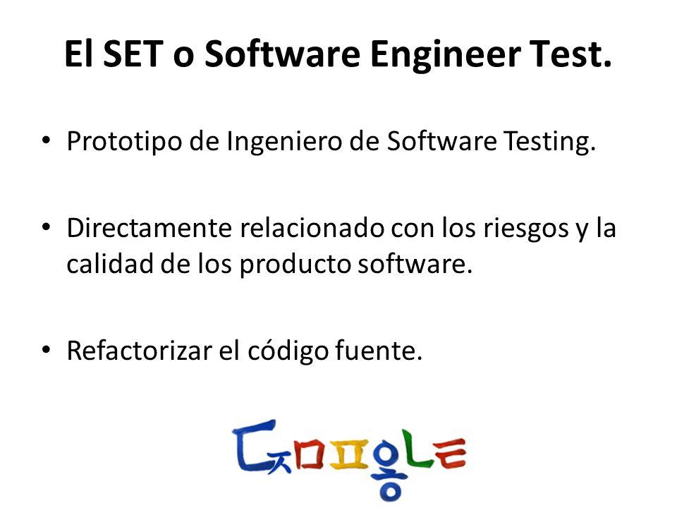 El SET o Software Engineer Test. Prototipo de Ingeniero de Software Testing. Directamente relacionado con los riesgos y la calidad de los producto sof