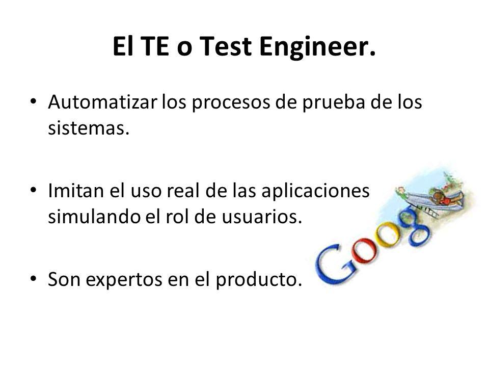 El TE o Test Engineer. Automatizar los procesos de prueba de los sistemas. Imitan el uso real de las aplicaciones simulando el rol de usuarios. Son ex