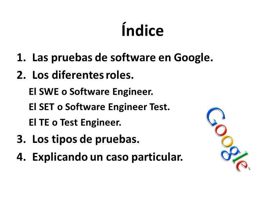 1.Las pruebas de software en Google. 2.Los diferentes roles. El SWE o Software Engineer. El SET o Software Engineer Test. El TE o Test Engineer. 3.Los