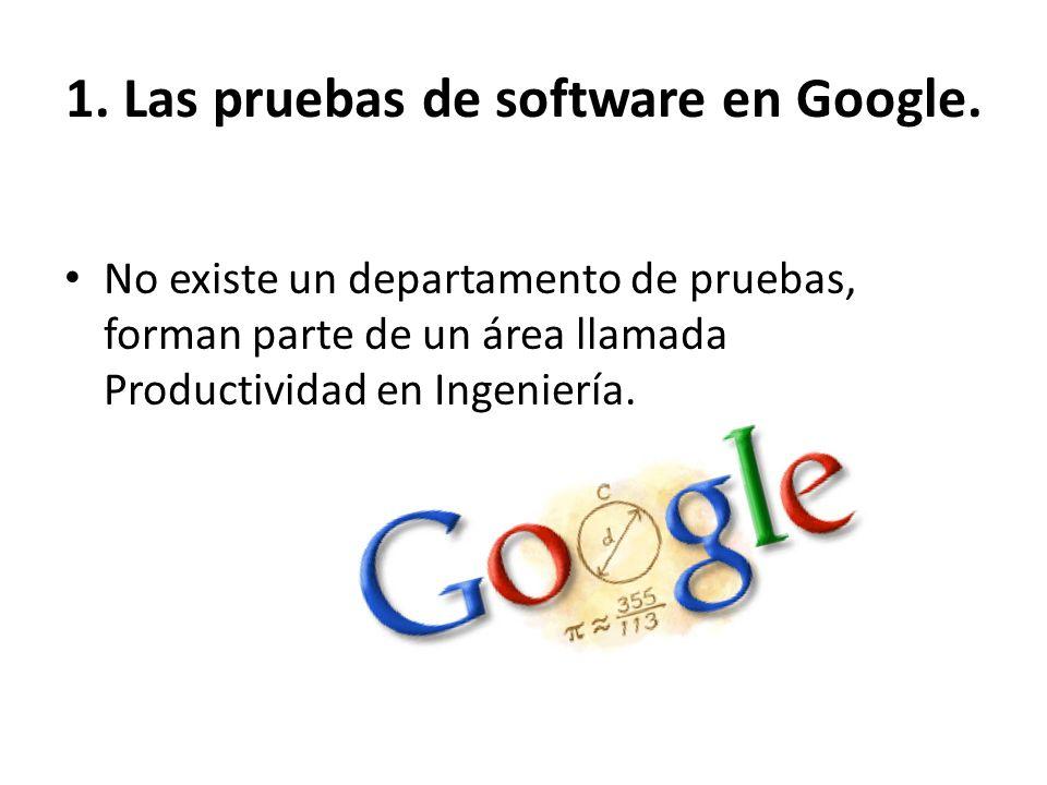 No existe un departamento de pruebas, forman parte de un área llamada Productividad en Ingeniería. 1. Las pruebas de software en Google.