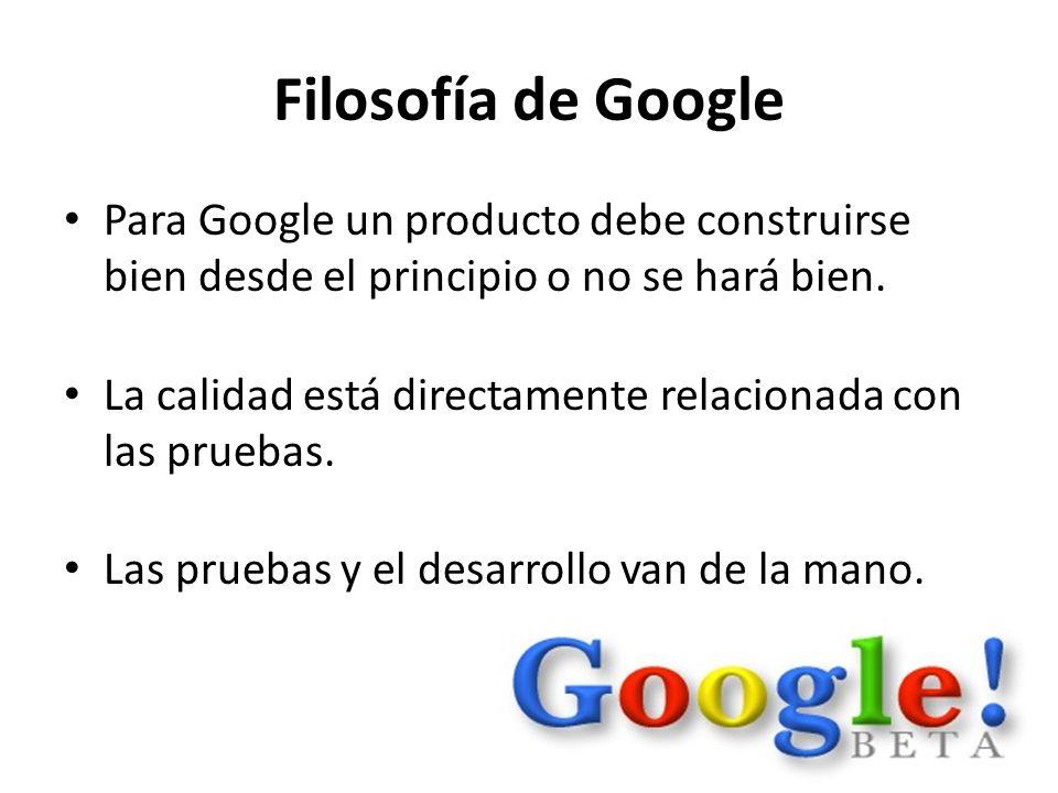 Filosofía de Google Para Google un producto debe construirse bien desde el principio o no se hará bien. La calidad está directamente relacionada con l