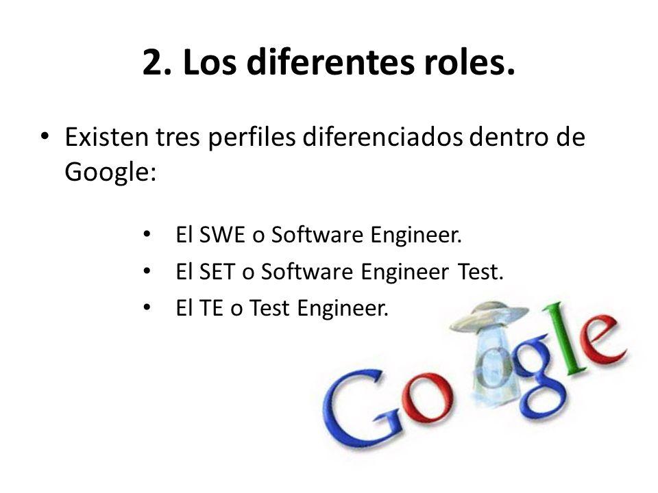 2. Los diferentes roles. Existen tres perfiles diferenciados dentro de Google: El SWE o Software Engineer. El SET o Software Engineer Test. El TE o Te