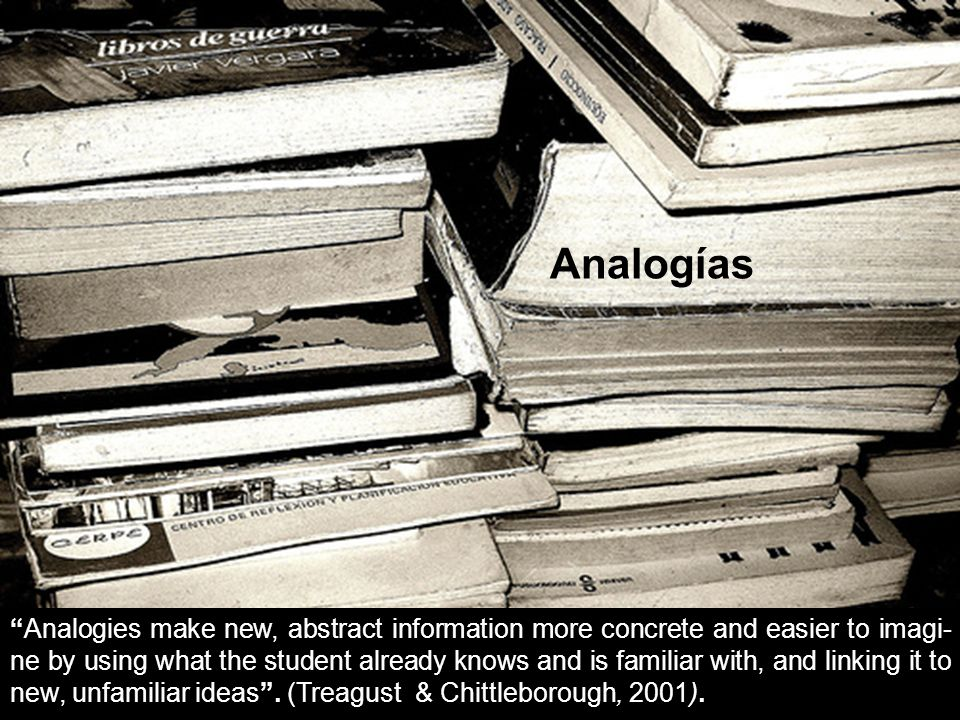 Analogies make new, abstract information more concrete and easier to imagi- ne by using what the student already knows and is familiar with, and linki