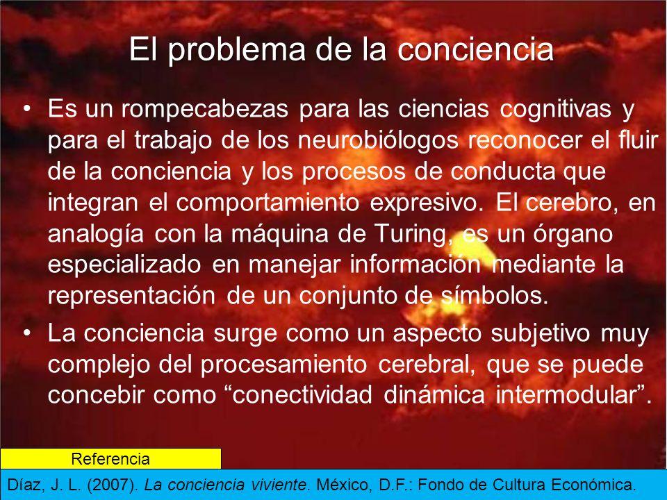 El problema de la conciencia Es un rompecabezas para las ciencias cognitivas y para el trabajo de los neurobiólogos reconocer el fluir de la conciencia y los procesos de conducta que integran el comportamiento expresivo.