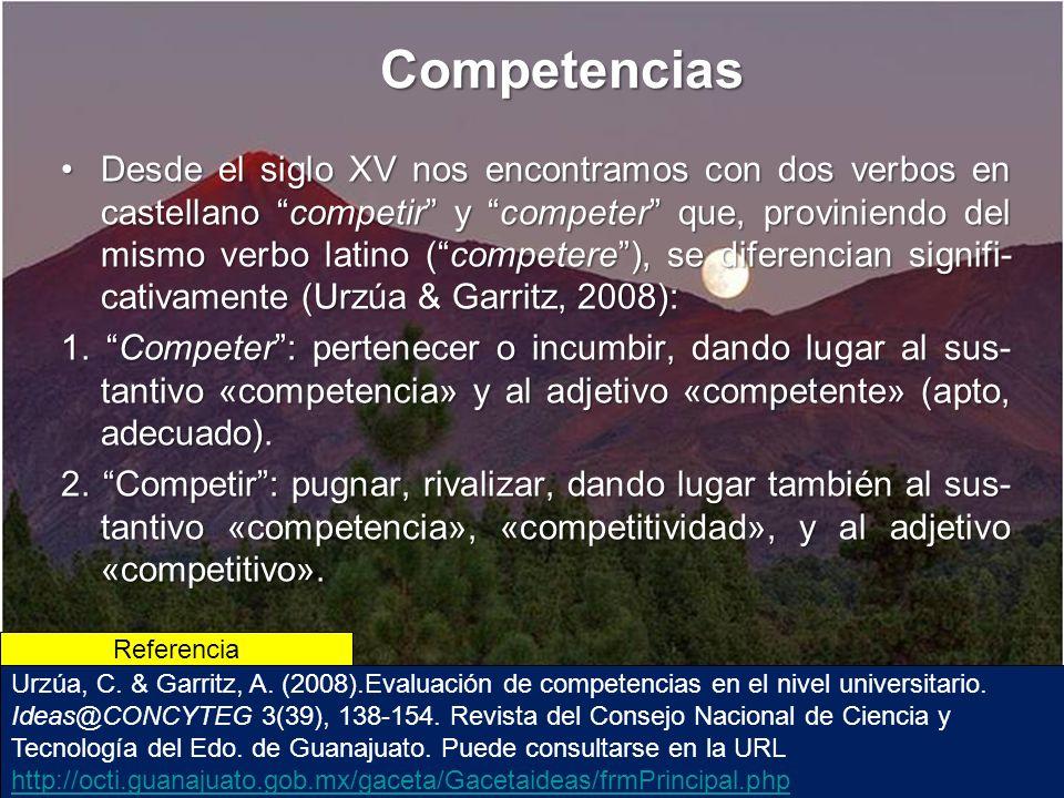 Competencias Desde el siglo XV nos encontramos con dos verbos en castellano competir y competer que, proviniendo del mismo verbo latino (competere), se diferencian signifi- cativamente (Urzúa & Garritz, 2008):Desde el siglo XV nos encontramos con dos verbos en castellano competir y competer que, proviniendo del mismo verbo latino (competere), se diferencian signifi- cativamente (Urzúa & Garritz, 2008): 1.