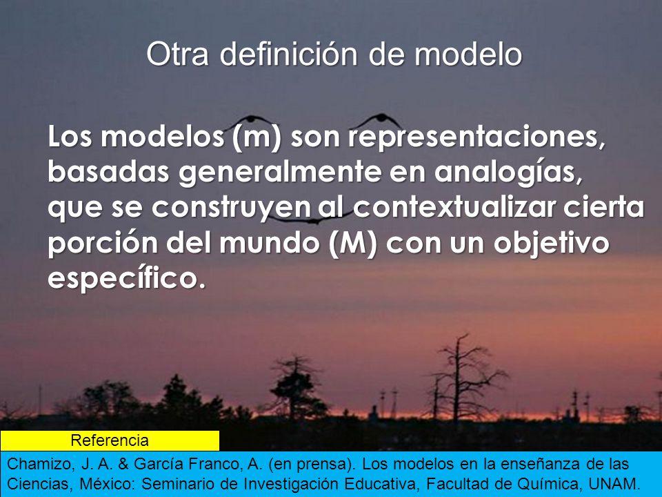 Otra definición de modelo Los modelos (m) son representaciones, basadas generalmente en analogías, que se construyen al contextualizar cierta porción del mundo (M) con un objetivo específico.
