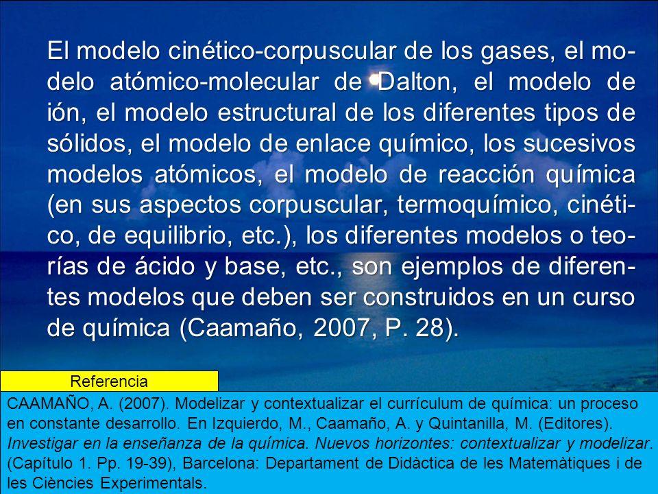 El modelo cinético-corpuscular de los gases, el mo- delo atómico-molecular de Dalton, el modelo de ión, el modelo estructural de los diferentes tipos de sólidos, el modelo de enlace químico, los sucesivos modelos atómicos, el modelo de reacción química (en sus aspectos corpuscular, termoquímico, cinéti- co, de equilibrio, etc.), los diferentes modelos o teo- rías de ácido y base, etc., son ejemplos de diferen- tes modelos que deben ser construidos en un curso de química (Caamaño, 2007, P.