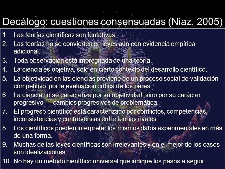 Decálogo: cuestiones consensuadas (Niaz, 2005) 1.Las teorías científicas son tentativas.
