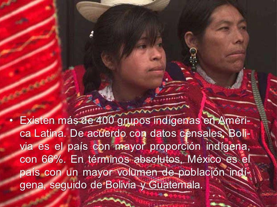Existen más de 400 grupos indígenas en Améri- ca Latina.