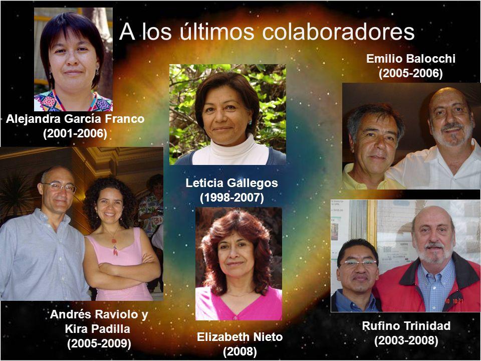 A los últimos colaboradores Andrés Raviolo y Kira Padilla (2005-2009) Emilio Balocchi (2005-2006) Rufino Trinidad (2003-2008) Alejandra García Franco (2001-2006) Leticia Gallegos (1998-2007) Elizabeth Nieto (2008)