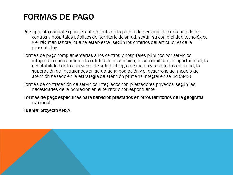 FORMAS DE PAGO Presupuestos anuales para el cubrimiento de la planta de personal de cada uno de los centros y hospitales públicos del territorio de sa