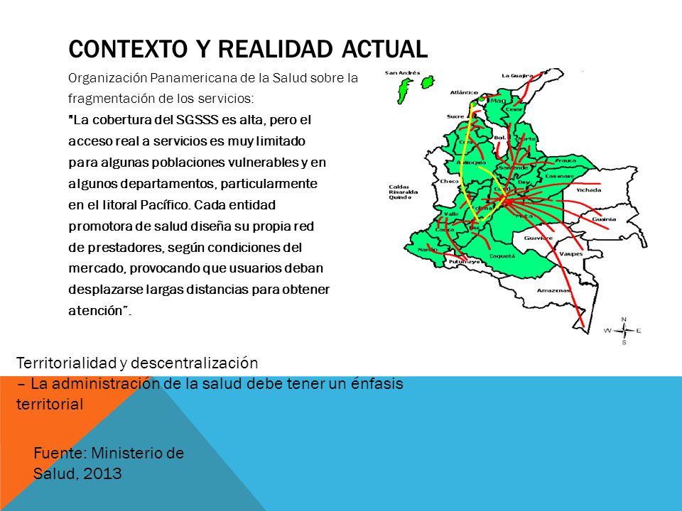 CONTEXTO Y REALIDAD ACTUAL Organización Panamericana de la Salud sobre la fragmentación de los servicios: