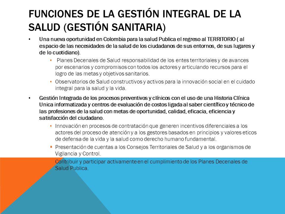 FUNCIONES DE LA GESTIÓN INTEGRAL DE LA SALUD (GESTIÓN SANITARIA) Una nueva oportunidad en Colombia para la salud Publica el regreso al TERRITORIO ( al