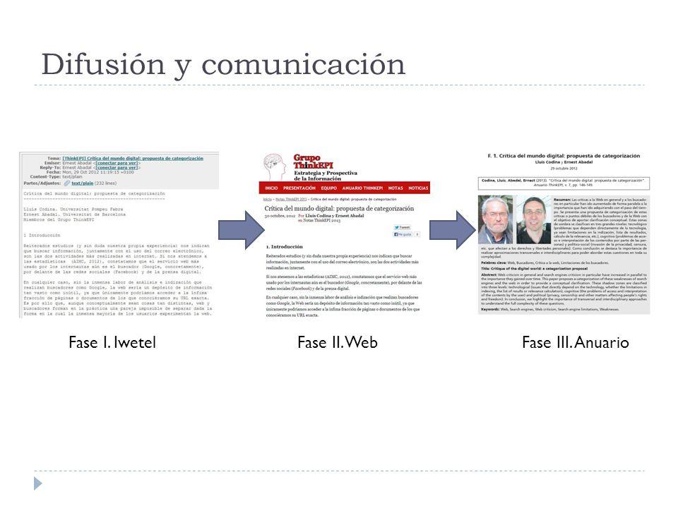 Difusión y comunicación Fase I. IwetelFase II. WebFase III. Anuario