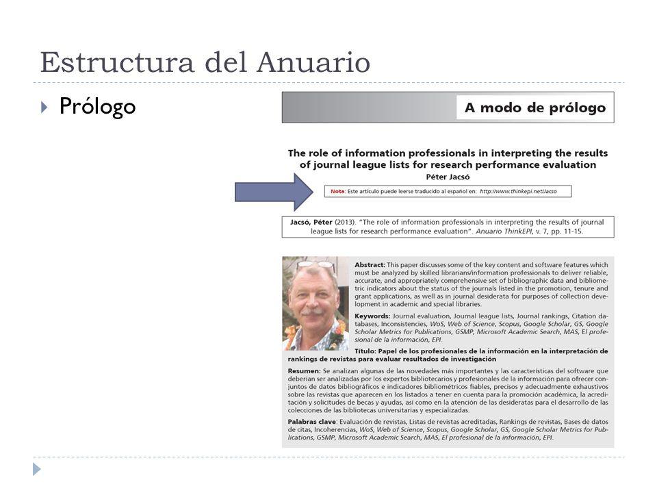 Estructura del Anuario Prólogo