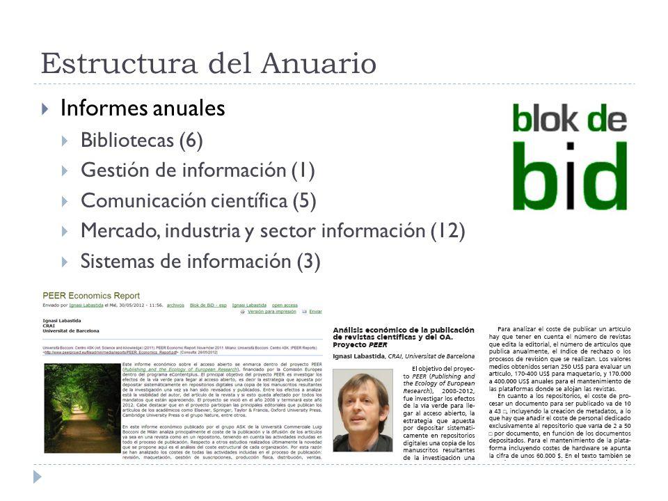 Estructura del Anuario Informes anuales Bibliotecas (6) Gestión de información (1) Comunicación científica (5) Mercado, industria y sector información
