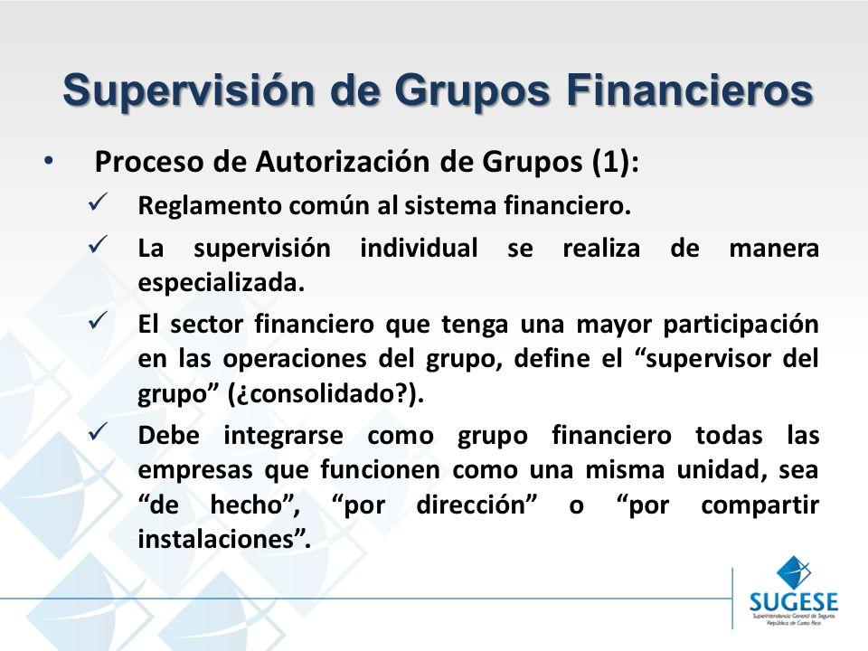 Campaña Información y sensibilización del Mercado de Seguros en Costa Rica Superintendencia General de Seguros Supervisión de Grupos Financieros Proceso de Autorización de Grupos (1): Reglamento común al sistema financiero.