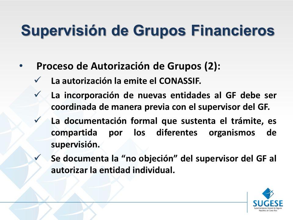 Campaña Información y sensibilización del Mercado de Seguros en Costa Rica Superintendencia General de Seguros Supervisión de Grupos Financieros Proceso de Autorización de Grupos (2): La autorización la emite el CONASSIF.