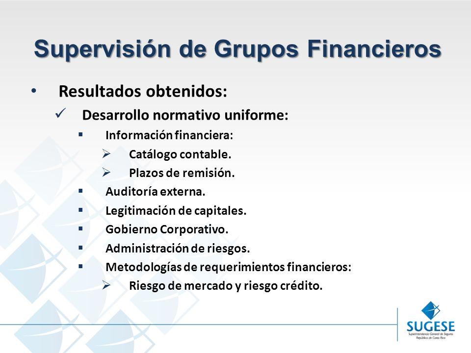Campaña Información y sensibilización del Mercado de Seguros en Costa Rica Superintendencia General de Seguros Supervisión de Grupos Financieros Resultados obtenidos: Desarrollo normativo uniforme: Información financiera: Catálogo contable.