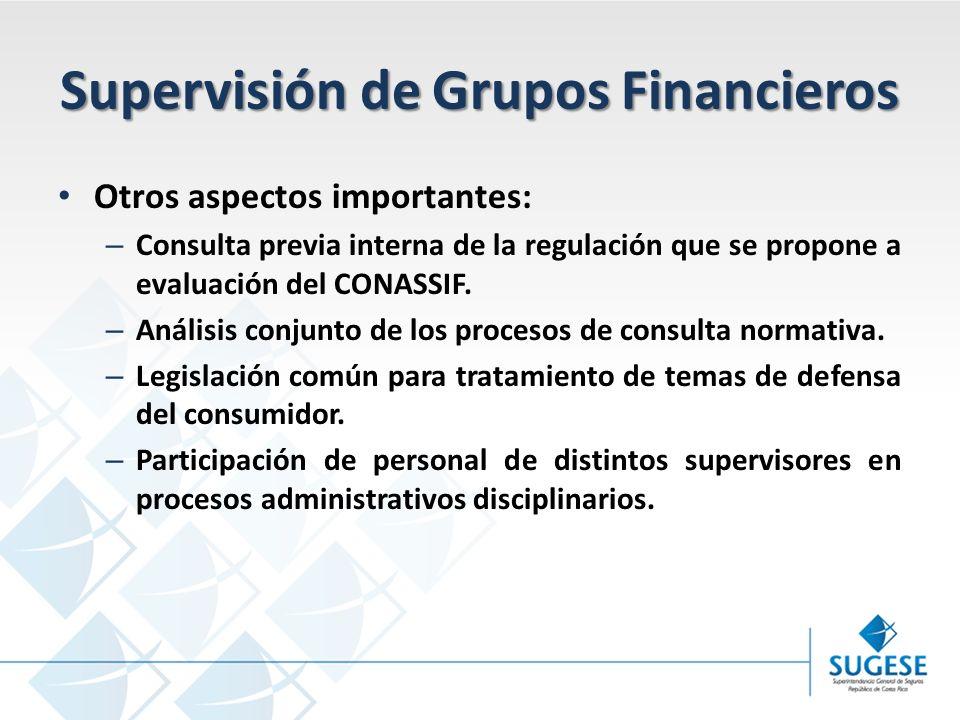 Supervisión de Grupos Financieros Otros aspectos importantes: – Consulta previa interna de la regulación que se propone a evaluación del CONASSIF.