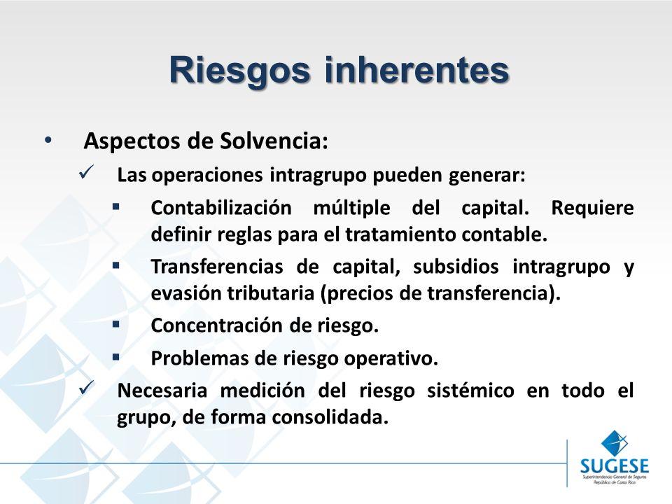 Campaña Información y sensibilización del Mercado de Seguros en Costa Rica Superintendencia General de Seguros Riesgos inherentes Aspectos de Solvencia: Las operaciones intragrupo pueden generar: Contabilización múltiple del capital.